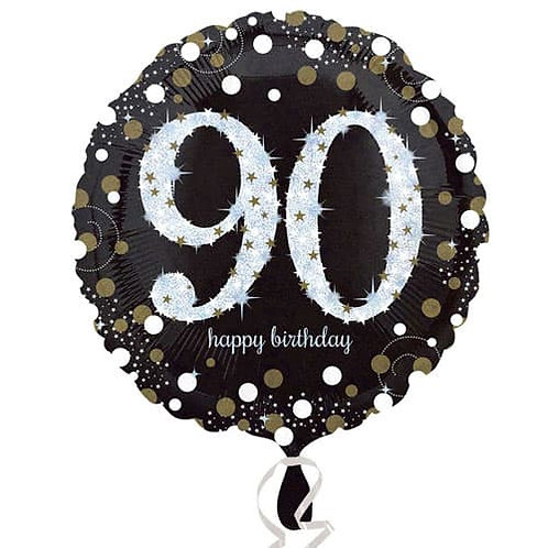"Black Silver Gold Sparkling 90th Happy Birthday 18"" Foil Helium Balloon"