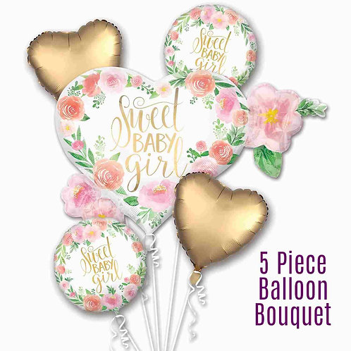 'Sweet Baby Girl' Balloon Bouquet Welcome Baby, Baby Shower 5 x Balloon Bunch