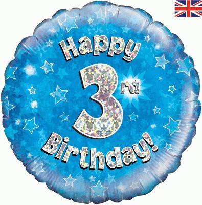 "Blue Happy 3rd Birthday 18"" Foil Helium Balloon"