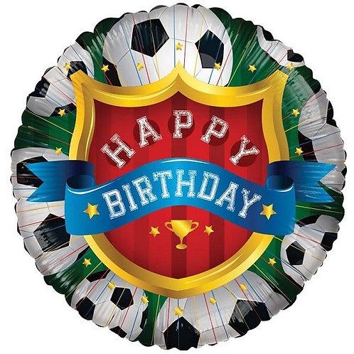"Happy Birthday Football themed 18"" Foil Helium Balloon"