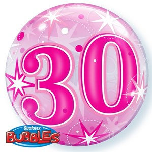 Pink/Clear 30th Birthday Bubble Balloon Helium filled 22""