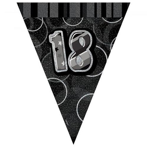 Black & Silver Glitz Holographic 18 Bunting 2.74m