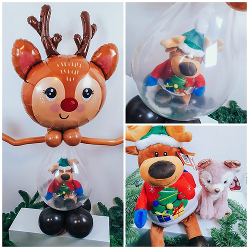Rudolph balloon sculpture with a choice of 2 cute reindeer soft toys inside