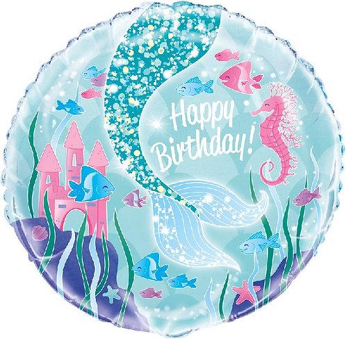 "Happy Birthday Mermaid themed 18"" Foil Helium Balloon"