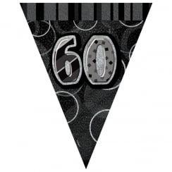 Black & Silver Glitz Holographic 60 Bunting 2.74m