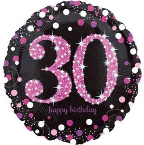 "Black & Hot Pink Sparkling 30th Happy Birthday 18"" Foil Helium Balloon"