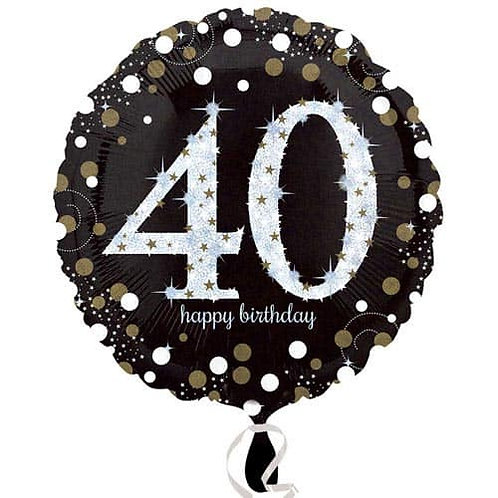 "Black Silver Gold Sparkling 40th Happy Birthday 18"" Foil Helium Balloon"