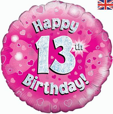 "Pink Happy 13th Birthday 18"" Foil Helium Balloon"