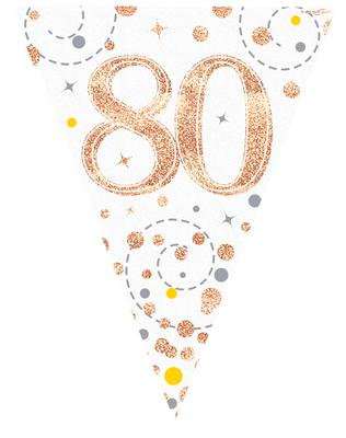 Rose Gold & White Holographic 80th Birthday Bunting 12.8ft/3.9m
