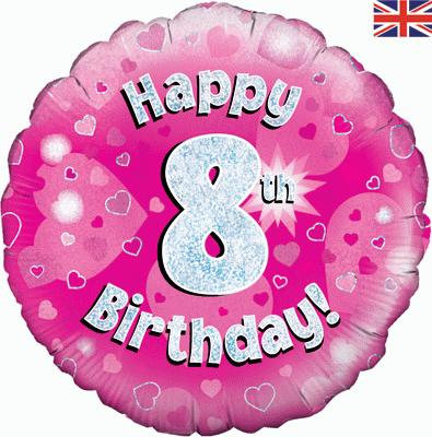 "Pink Happy 8th Birthday 18"" Foil Helium Balloon"