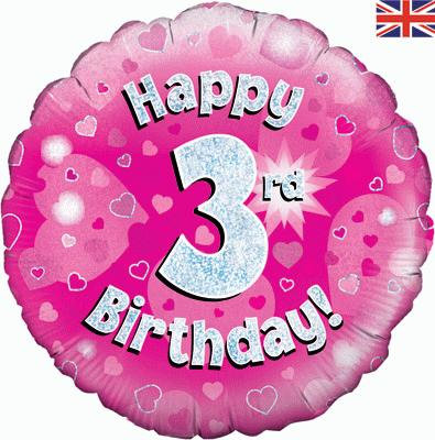 "Pink Happy 3rd Birthday 18"" Foil Helium Balloon"