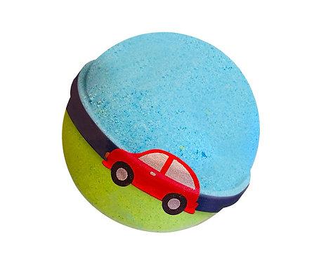 Car bath bomb with toy inside