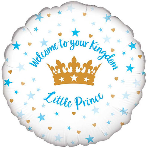 """Baby Boy 'Welcome to your kingdom little prince' 18"""" Foil Helium Balloon"""
