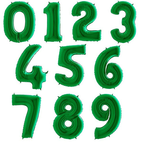 """Green Number Balloon Giant 40"""" Helium Foil Balloon 0-9 Inflated"""