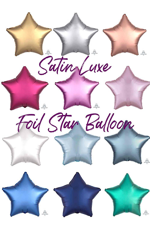"Plain Satin Luxe Foil Star Balloon 18"" Choose your Colour Helium Filled"