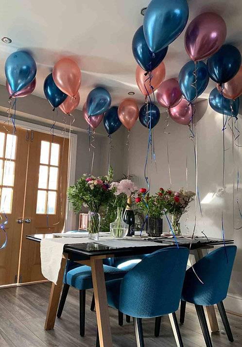 "Individual Latex 11"" Balloon & ribbon - Chrome Colours, Ceiling Helium Balloons"