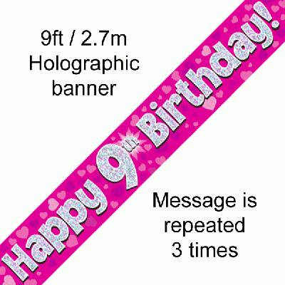 Pink Holographic 'Happy 9th Birthday' Banner 9ft/2.7m