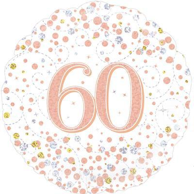 "White & Rose Gold 60th Birthday 18"" Foil Helium Balloon"