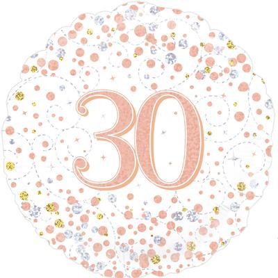 "White & Rose Gold 30th Birthday 18"" Foil Helium Balloon"