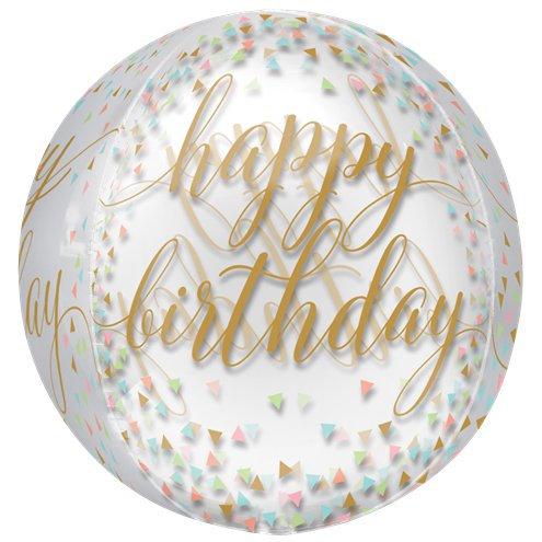 Happy Birthday Confetti Fun Orbz Balloon Semi-Clear, Helium filled