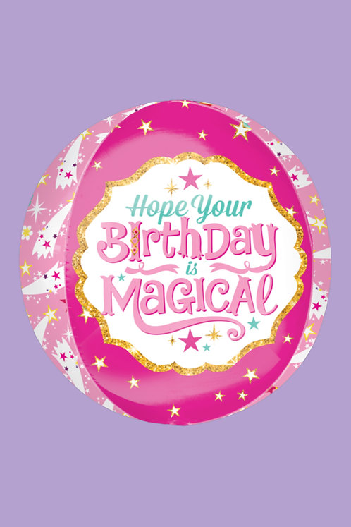 Hope Your Birthday is Magical Pink Orbz Helium Balloon Round