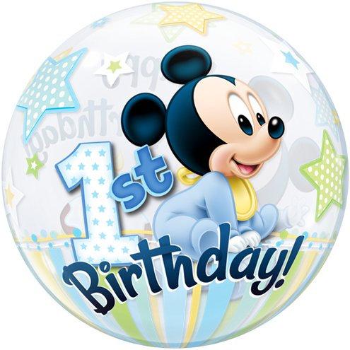Disney Mickey 1st Birthday Bubble Balloon - Happy Birthday 2 sided helium filled