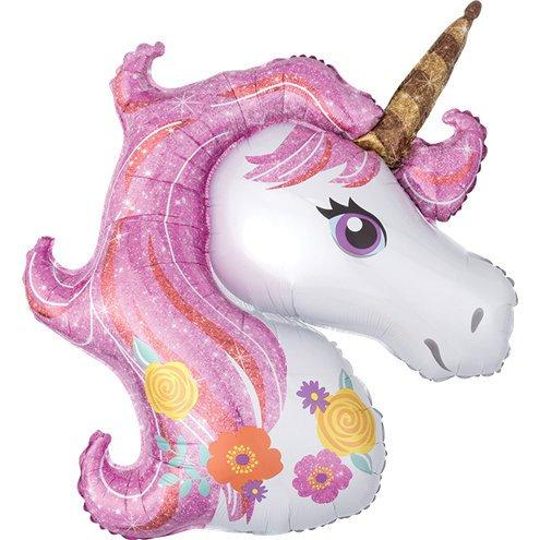 Pink Unicorn Balloon Supershape Helium Foil Balloon Unicorn Head
