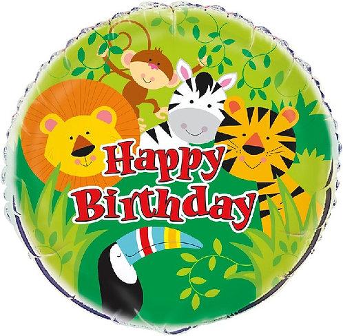 "Happy Birthday Jungle Animal themed 18"" Foil Helium Balloon"