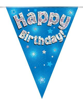 Blue Bunting Holographic 'Happy Birthday' Bunting 12.8ft/3.9m