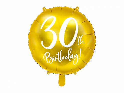 "Gold 30th Birthday 18"" Foil Helium Balloon"
