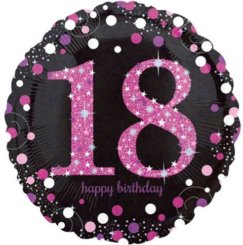 "Black & Pink Sparkling 18th Happy Birthday 18"" Foil Helium Balloon"