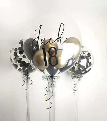 Personalised black gold bubble balloon c