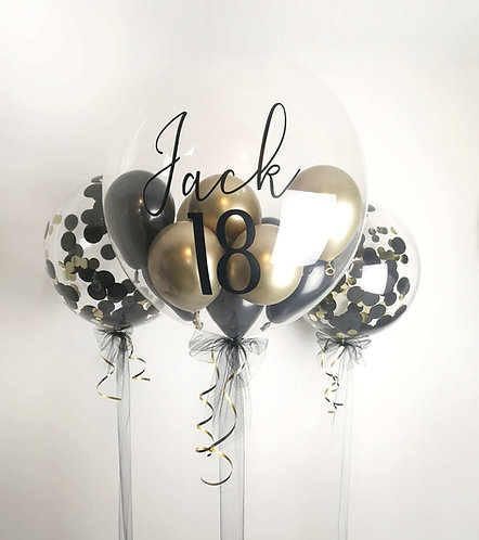 "Large 24"" Personalised Clear Bubble Balloon with chrome Balloons inside"
