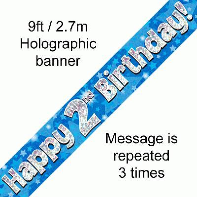 Blue Holographic 'Happy 2nd Birthday' Banner 9ft/2.7m