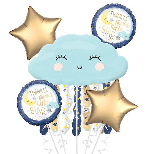 Twinkle Little Star Cloud Balloon Bouquet Welcome Baby Shower 5 x Balloon Bunch