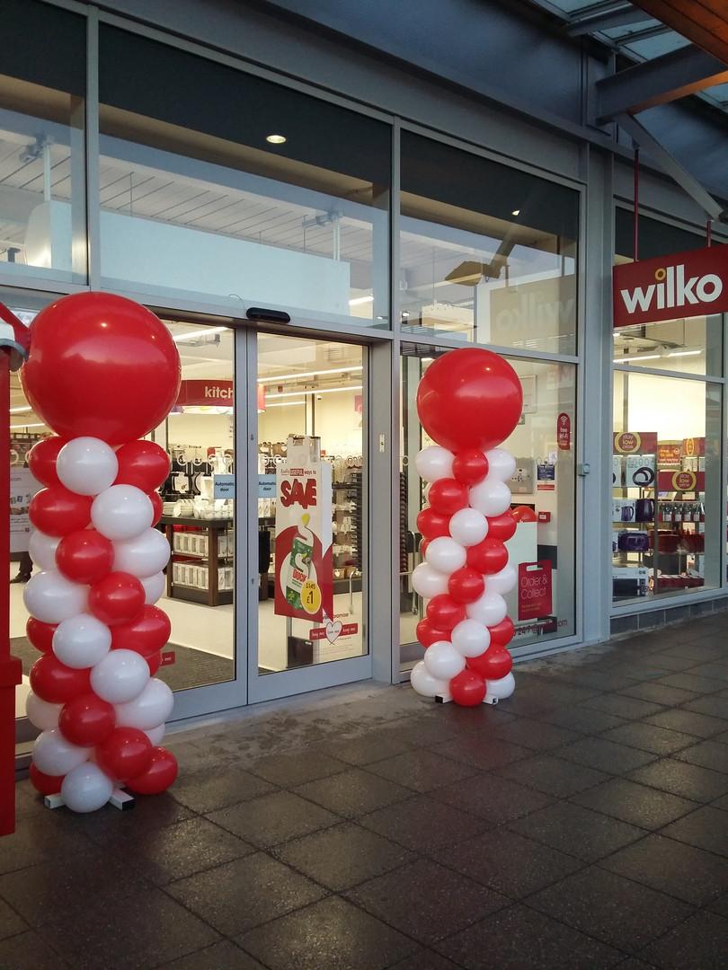 balloon columns store opening wilko dent