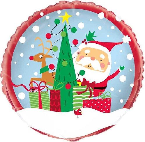 "Santa and Rudolph cute helium filled 18"" foil balloon"