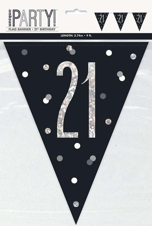Black & Silver Holographic 21st Birthday Bunting 2.74m