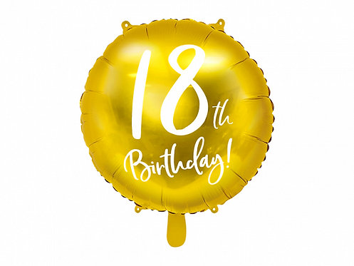 "Gold 18th Birthday 18"" Foil Helium Balloon"