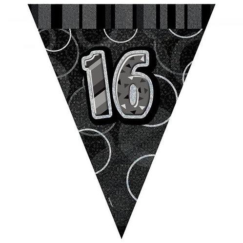 Black & Silver Glitz Holographic 16 Bunting 2.74m