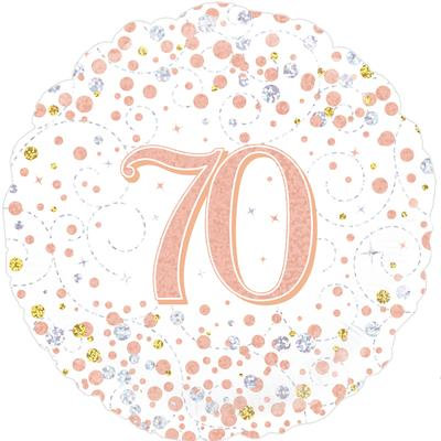 "White & Rose Gold 70th Birthday 18"" Foil Helium Balloon"