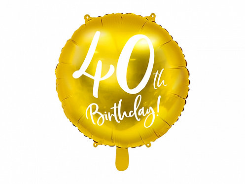 "Gold 40th Birthday 18"" Foil Helium Balloon"