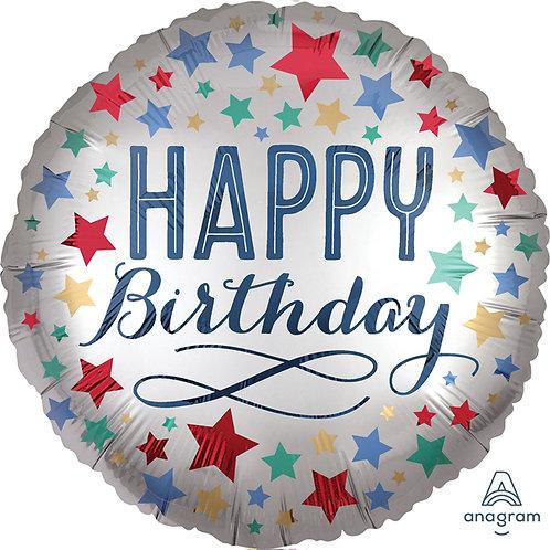 "Happy Birthday 18"" Helium Balloon satin silver with multi-colour stars"