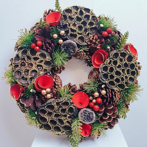 Boxed Wreath - Lotus Pods & Roses 38cm