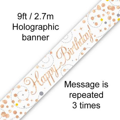 Rose Gold & White Holographic 'Happy Birthday' Banner 9ft/2.7m
