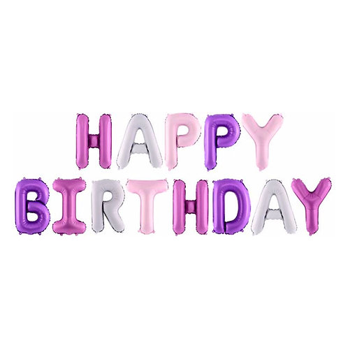 HAPPY BIRTHDAY Pink/Purple/White balloon banner kit DIY air fill. 13 x 35cm lett