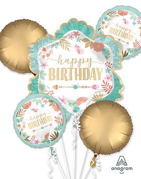 boho chic happy birthday balloon bouquet
