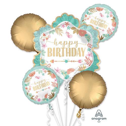 Boho Chic Happy Birthday Balloon Bouquet 5 x Helium Foil Balloon Bunch