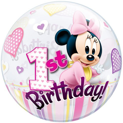 Disney Minnie 1st Birthday Bubble Balloon - Happy Birthday 2 sided helium filled