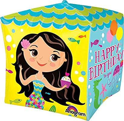 Mermaid Happy Birthday Balloon 4 Sided Cubez Balloon